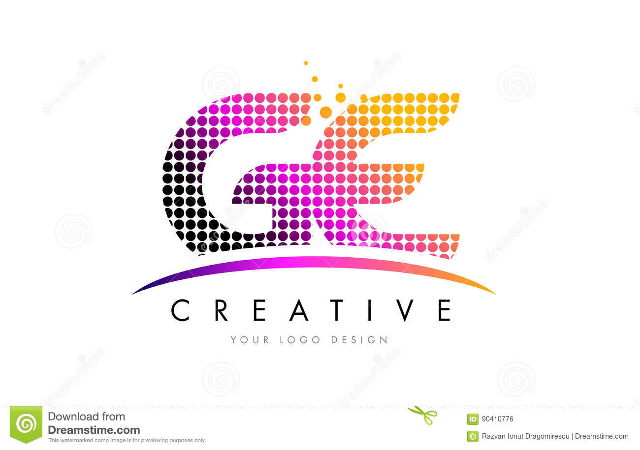 Ge G E Letter Logo Design With Magenta Dots And Swoosh Stock Vector