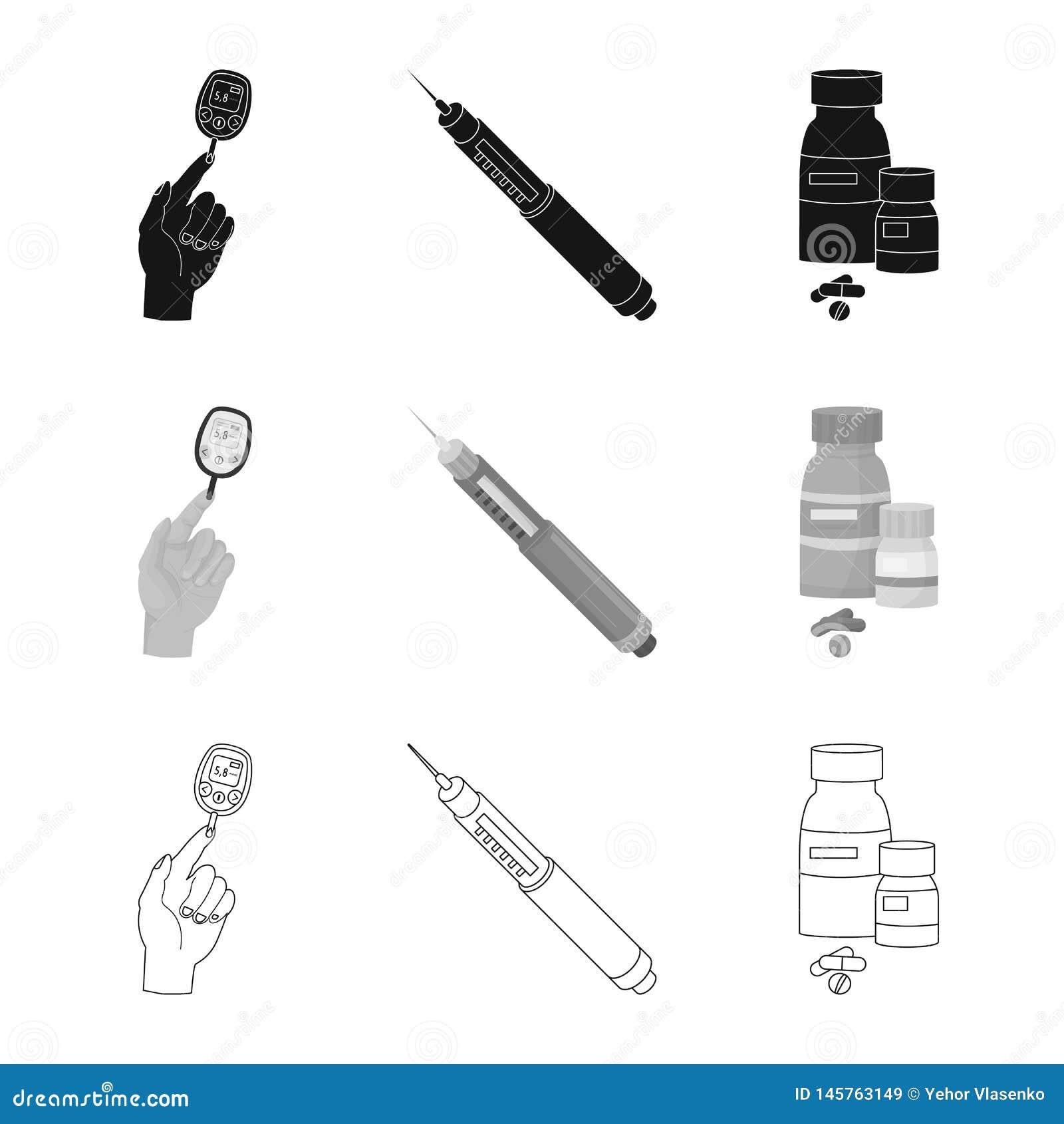 Ge?soleerd voorwerp van dieet en behandelingsembleem Inzameling van dieet en de vectorillustratie van de geneeskundevoorraad