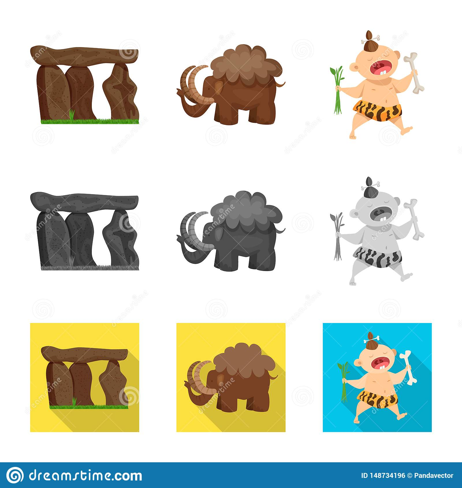 Ge?soleerd voorwerp van evolutie en voorgeschiedenispictogram Inzameling van evolutie en de vectorillustratie van de ontwikkeling