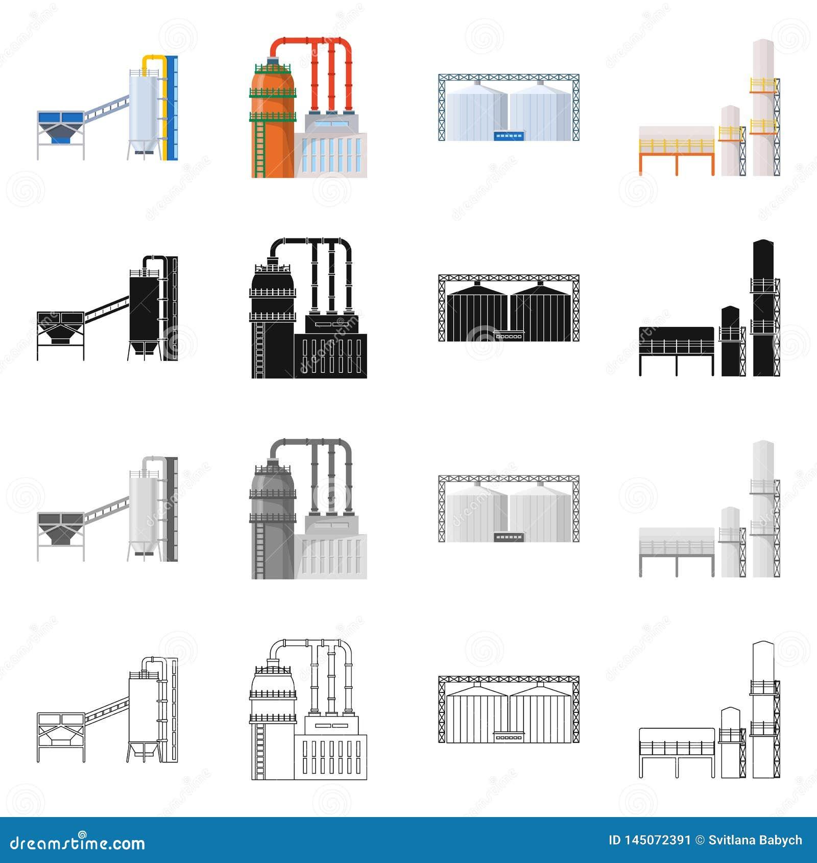 Ge?soleerd voorwerp van productie en structuurteken Reeks van productie en technologievoorraad vectorillustratie