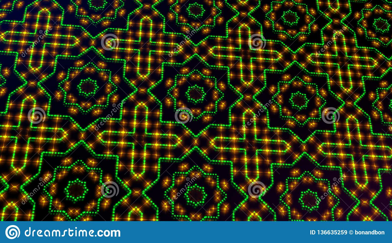 Geanimeerd licht die groene en gele punten en sterrenvormen shinning