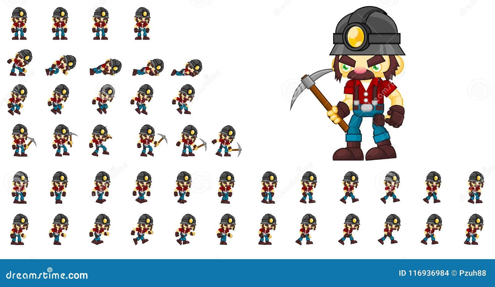 Geanimeerde Mijnwerker Character Sprites