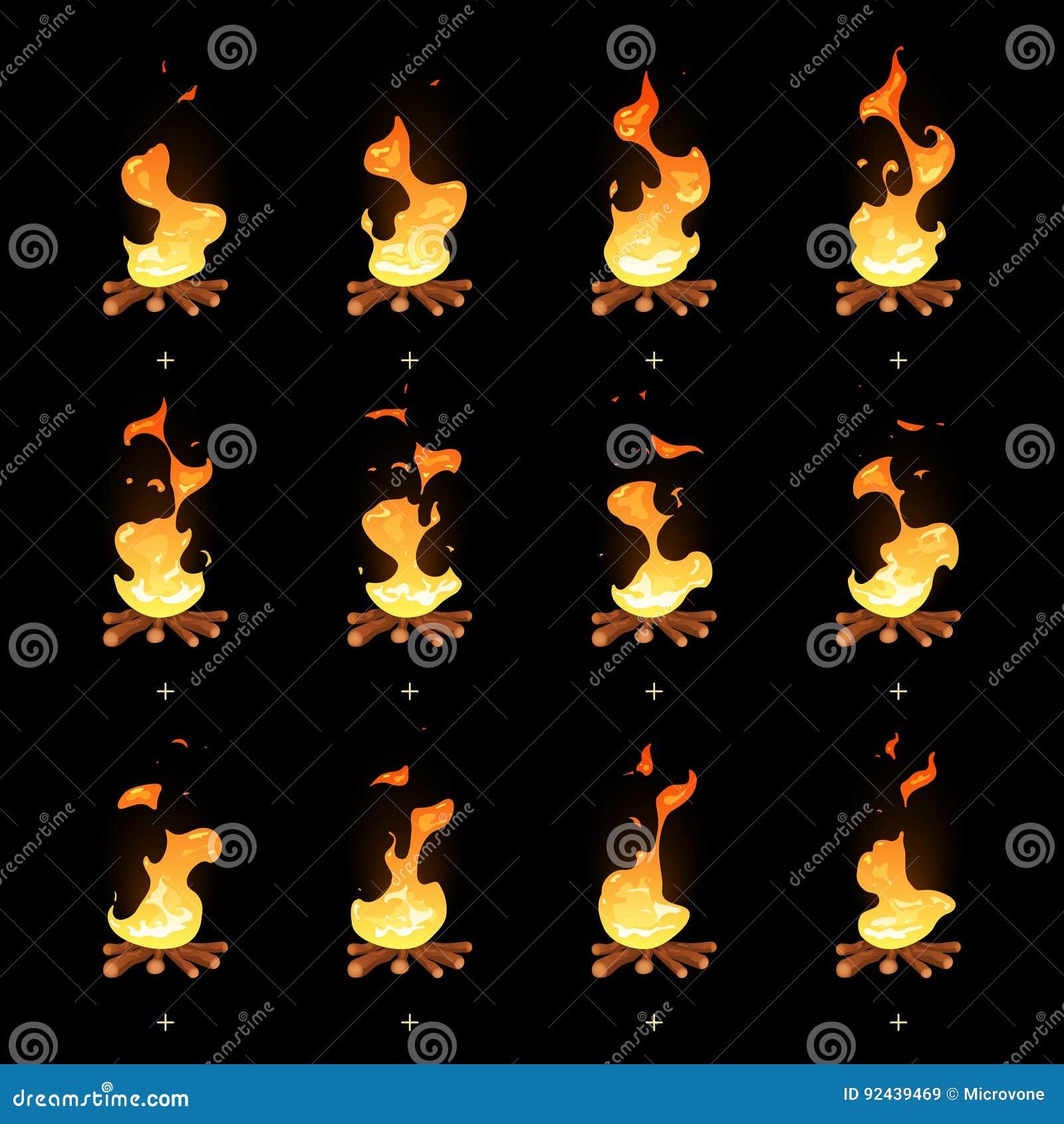 Geanimeerde vlam van het beeldverhaal de vectorvuur sprites
