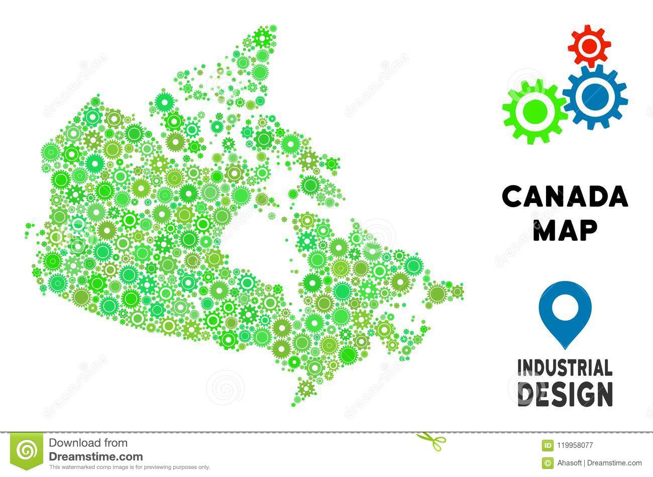 Small Map Of Canada.Gears Canada Map Mosaic Stock Vector Illustration Of Green 119958077