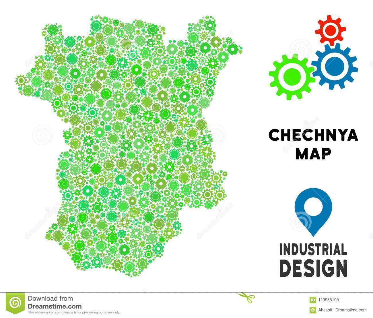 Gears Chechnya Map Collage stock vector. Illustration of land ... on