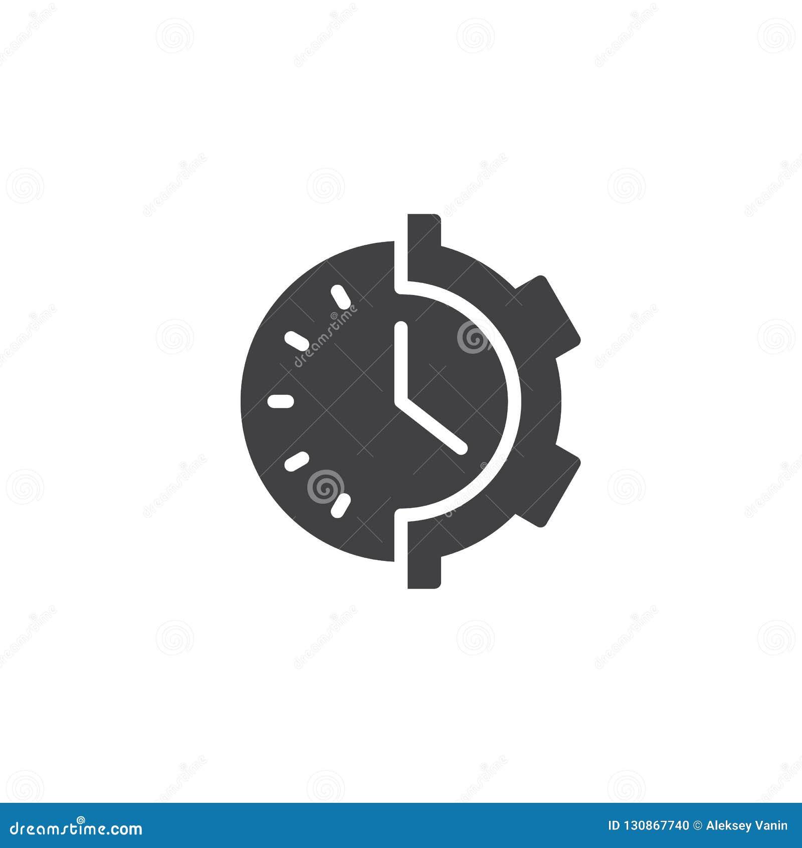 Gear clock vector icon stock vector  Illustration of