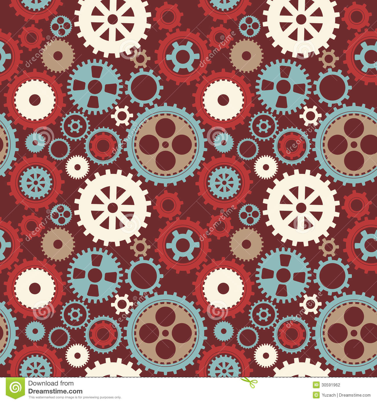 Gear Cog Silhouette Seamless Pattern Vector Illustration