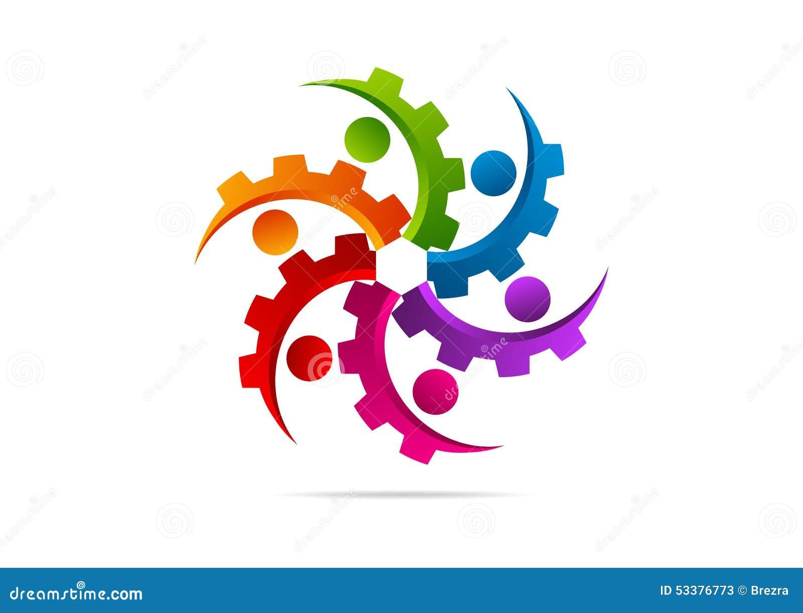 Gear, Engine, Machine, Teamwork, Connection Logo Design