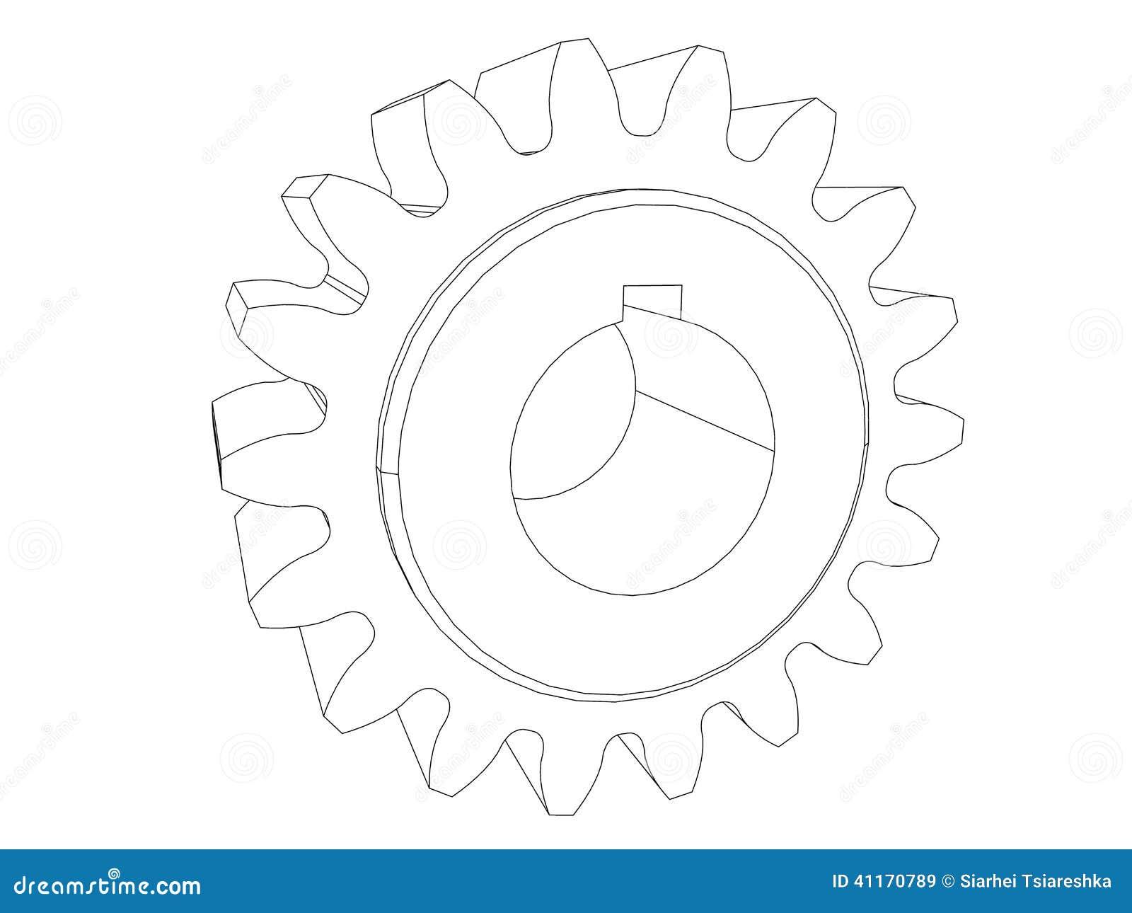 gear engineering drawing black line stock image image