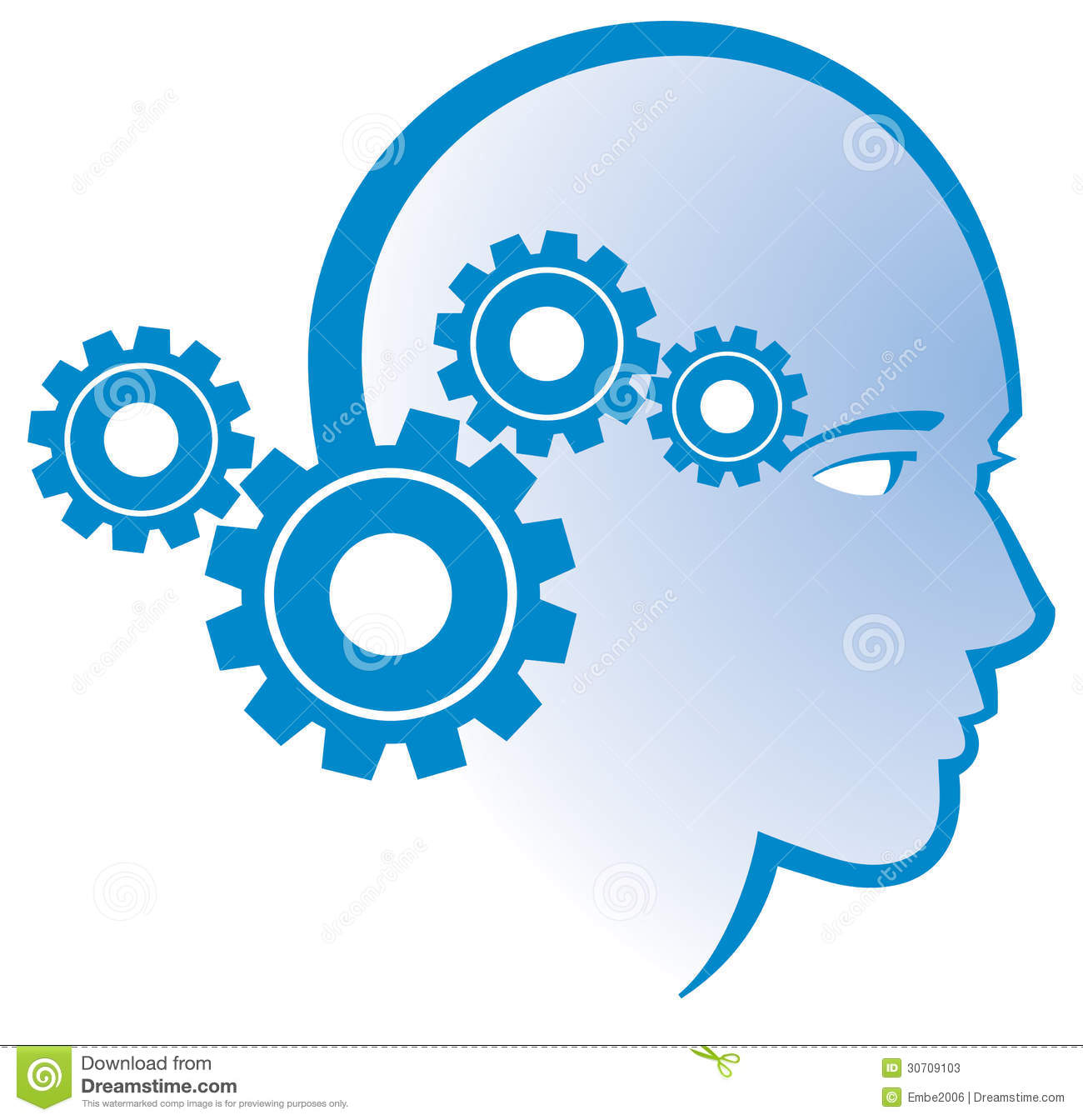 logo icon of a gear mind head thinking person.