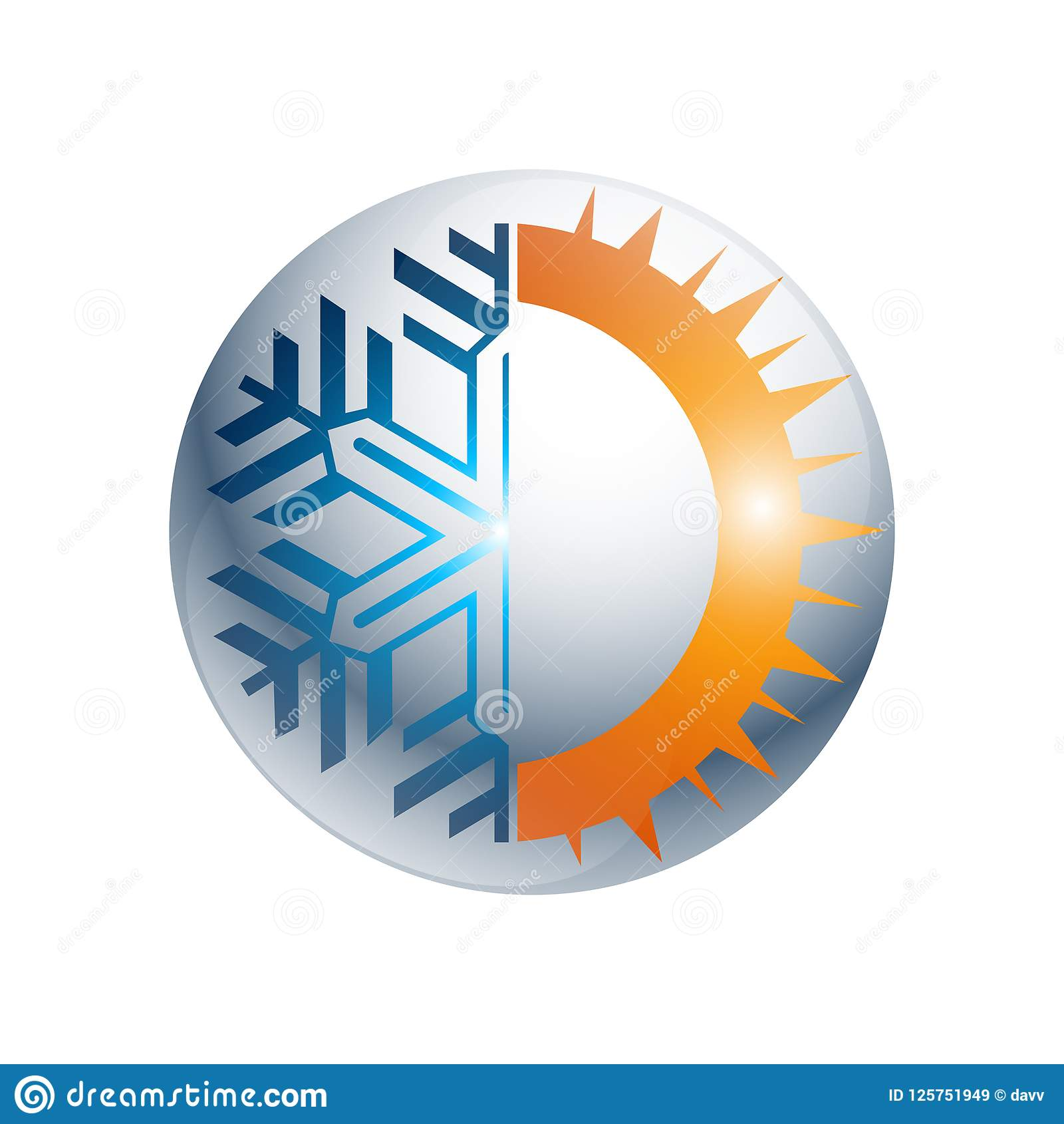 Gear Hot and cold round sign logo. Temperature balance icon. Sun