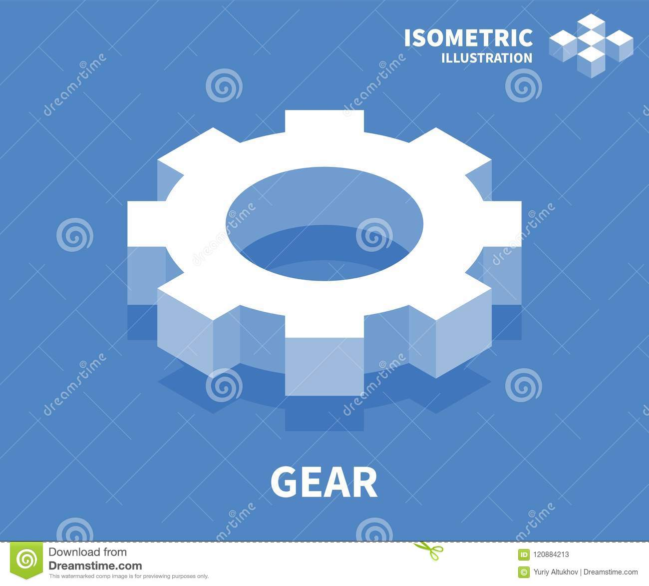 Gear icon isometric template for web design in flat 3d style isometric template for web design in flat 3d style vector illustration maxwellsz