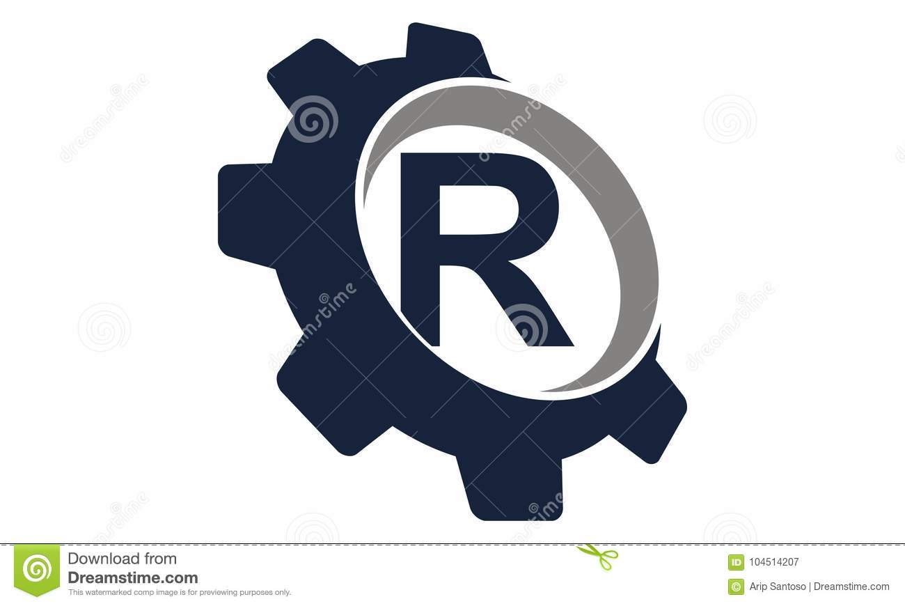 gear logo letter r stock vector illustration of gearwheel 104514207
