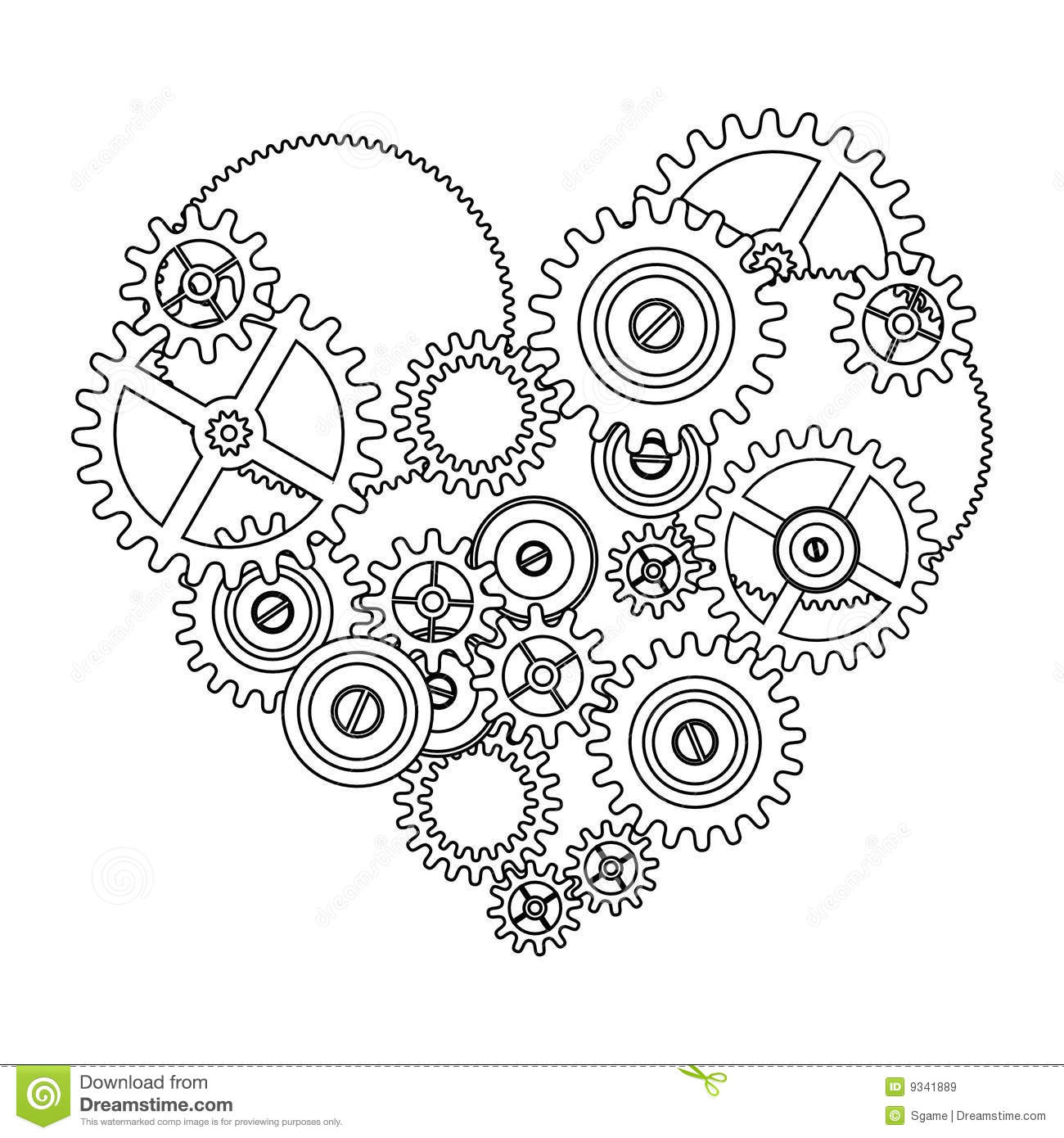 lesbian wedding coloring pages | Gear Love Heart Royalty Free Stock Images - Image: 9341889