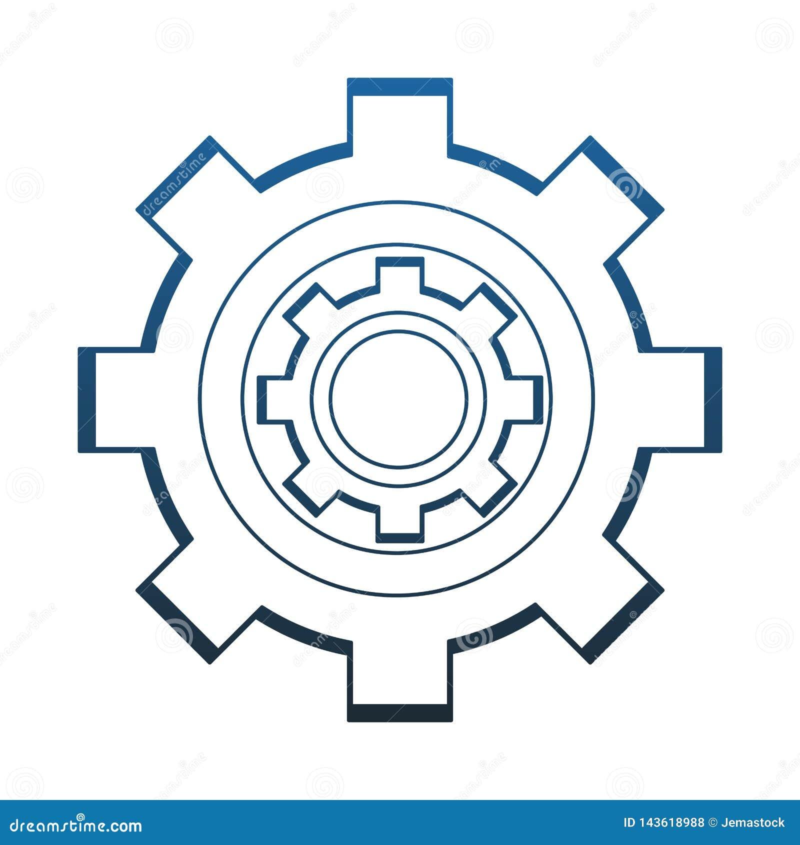 Gear machinery piece blue lines