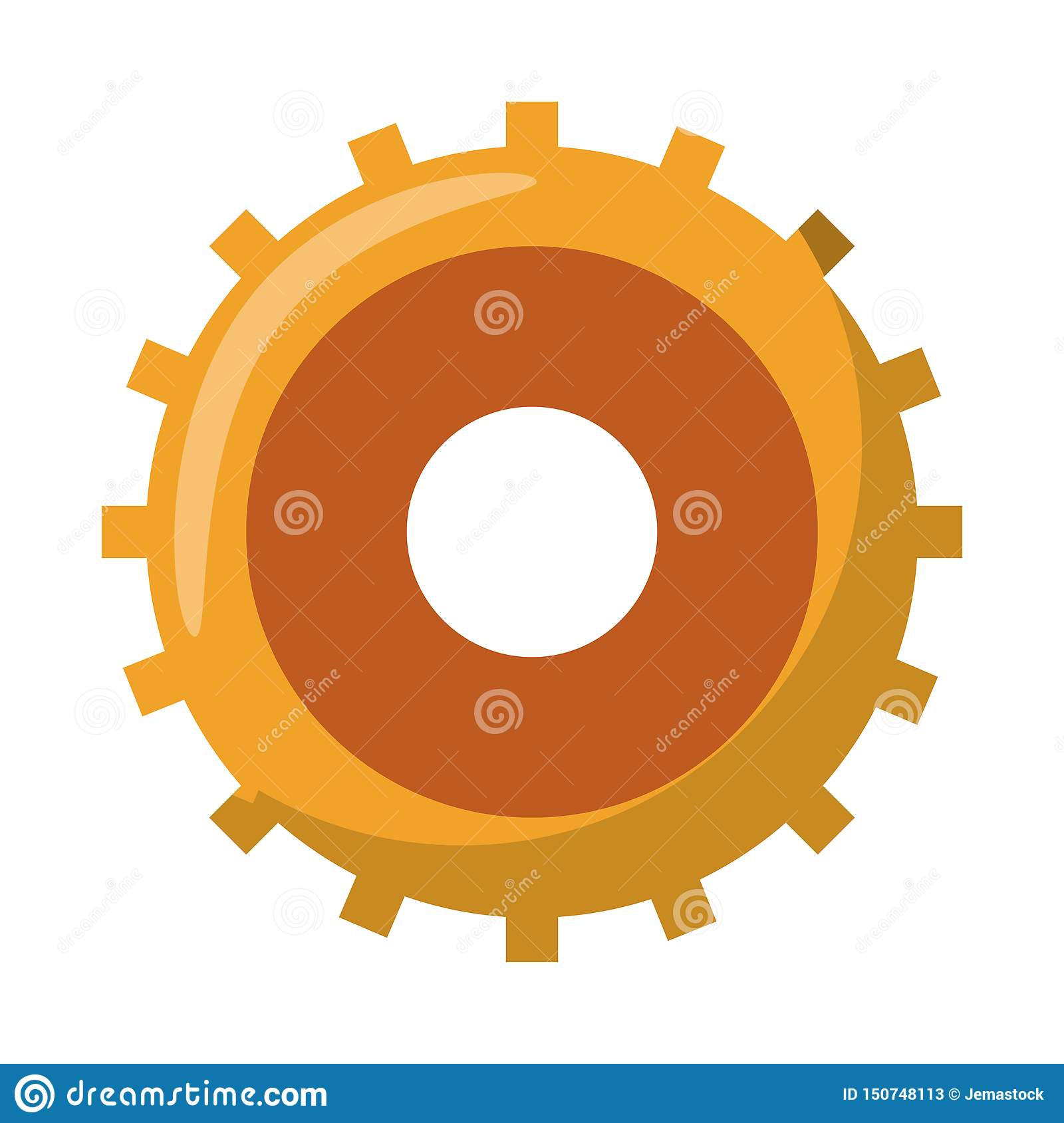 Gear machinery piece symbol isolated