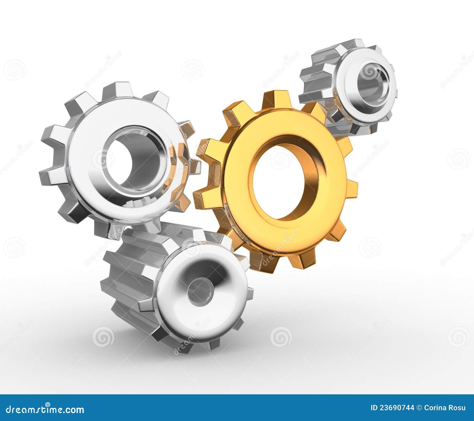 Gear mechanism - this is a 3d render illustation.