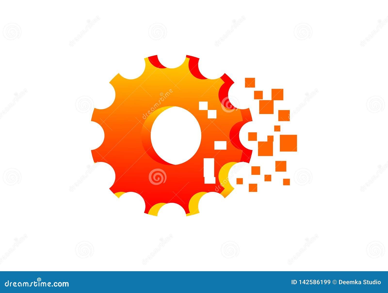 Gear Mechanism Pixel Logo Vector Stock Illustration Illustration Of Design Pixel 142586199