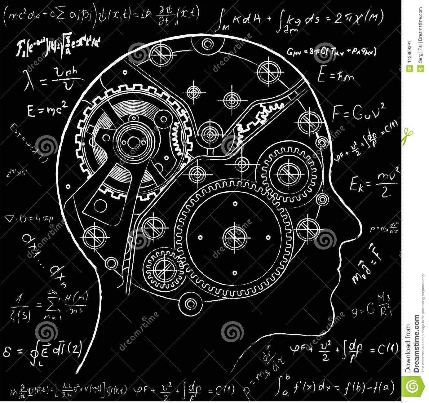 The mechanism of human thinking. It is depicted in the form of a clock mechanism with gears and screws located inside