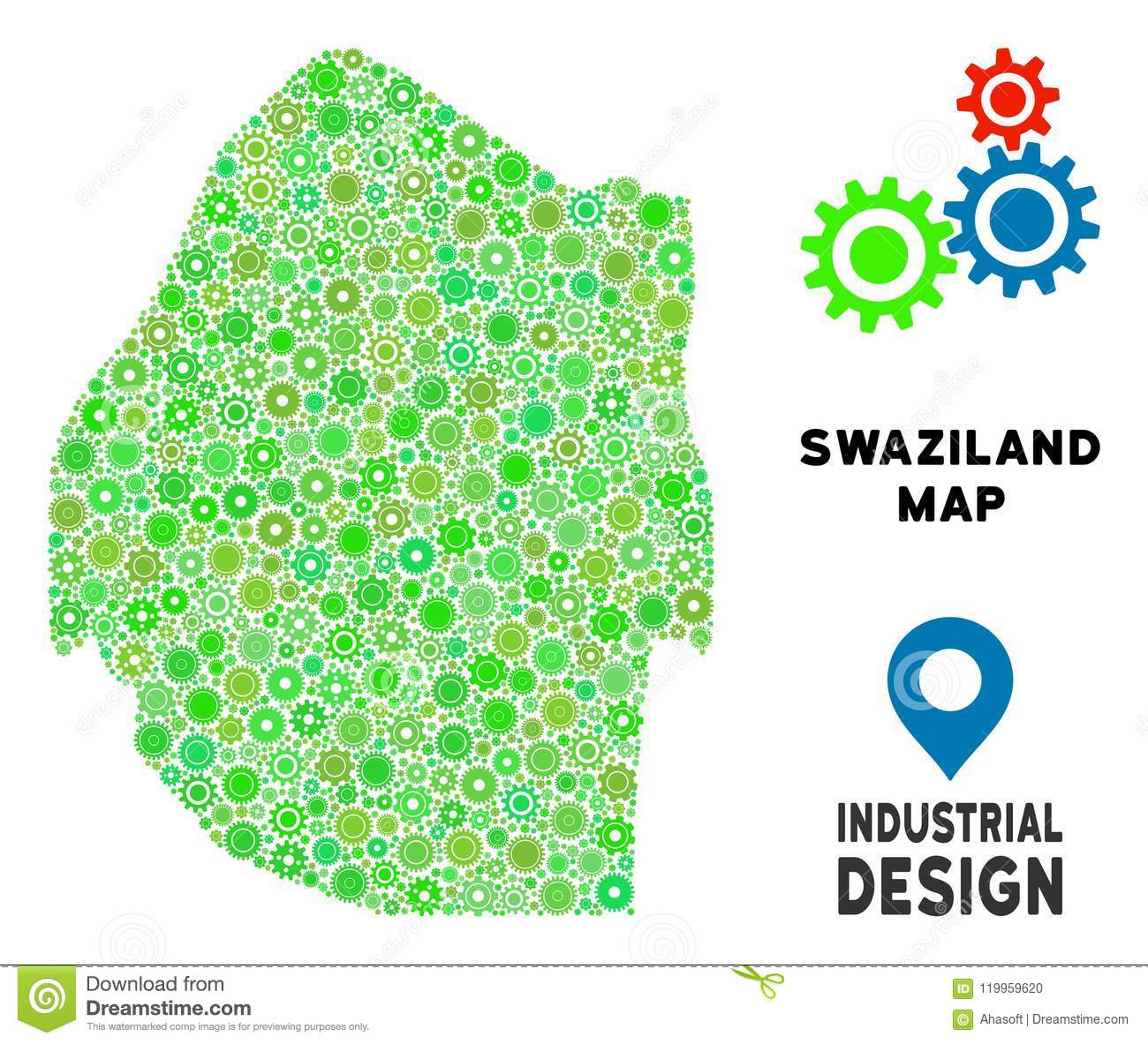 Gears Swaziland Map Mosaic stock vector. Illustration of location ...