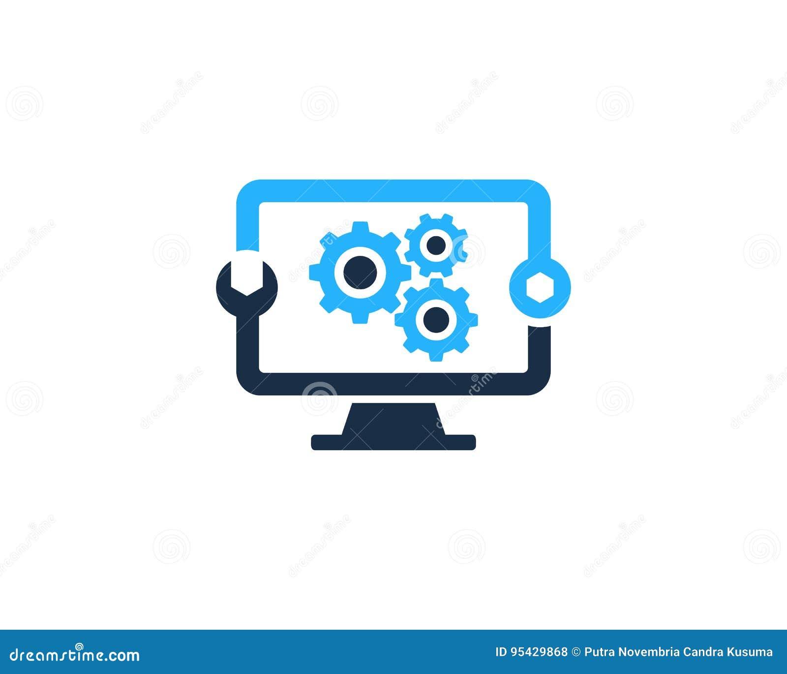 gear tool computer icon logo design element stock vector