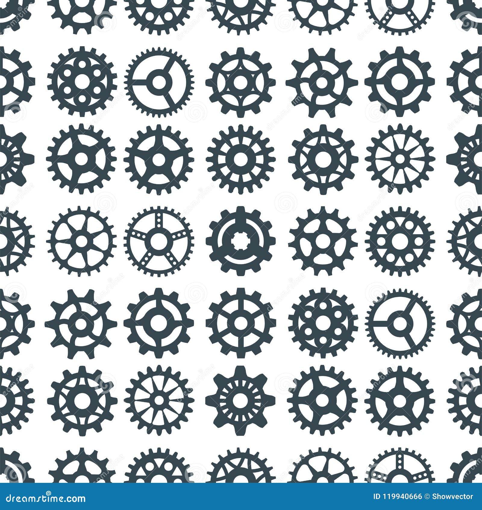 Gear vector illustration mechanics gearing web development shape work cog engine wheel equipment machinery seamless