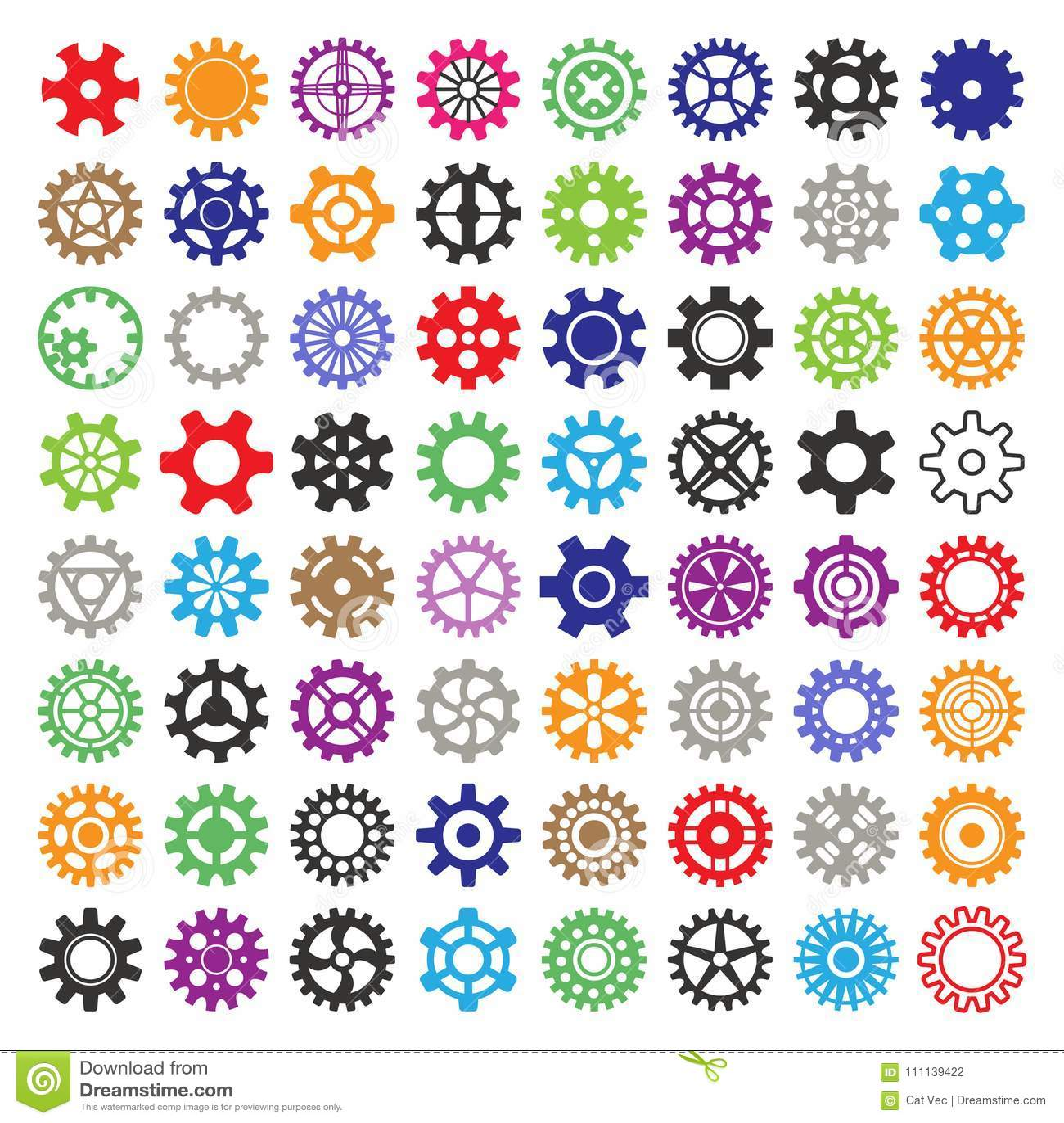 Gear vector mechanism icons isolated illustration. Mechanics web development shape work cog multicolor gear sign. Engine
