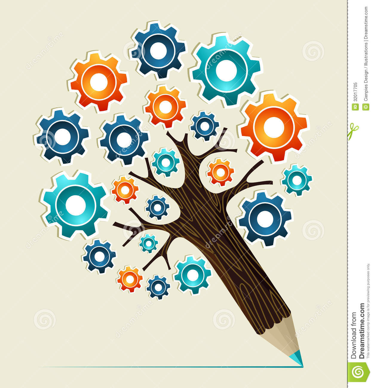 Gear Wheel Concept Pencil Tree Stock Vector