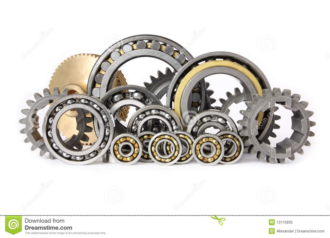 The gears and bearings