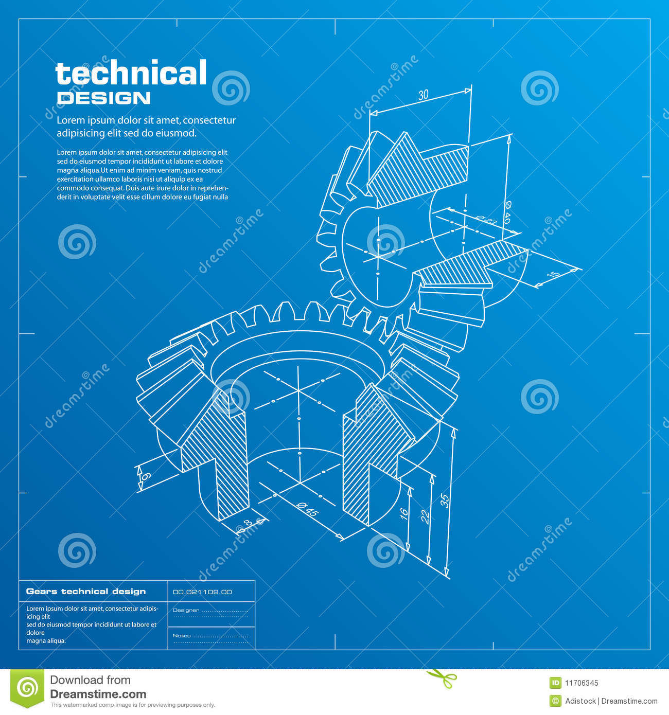 Gears blueprint background vector stock vector illustration of gears blueprint background vector malvernweather Image collections