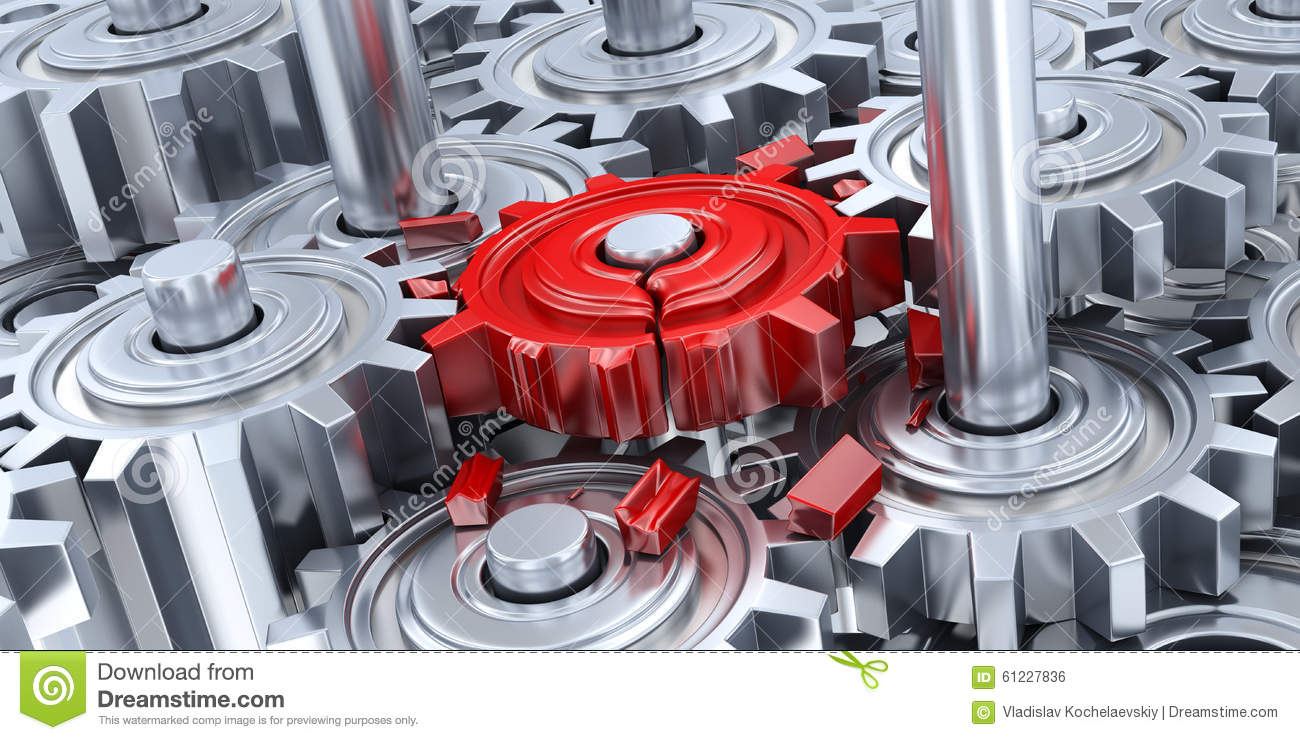 Gears And Broken Red Gear Stock Illustration - Image: 61227836