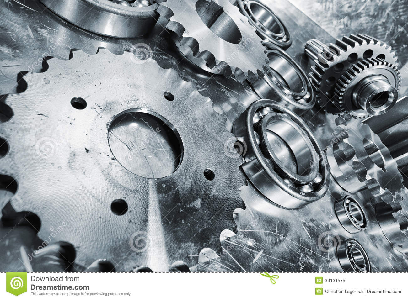 gears  cogs and bearing engineering parts stock image