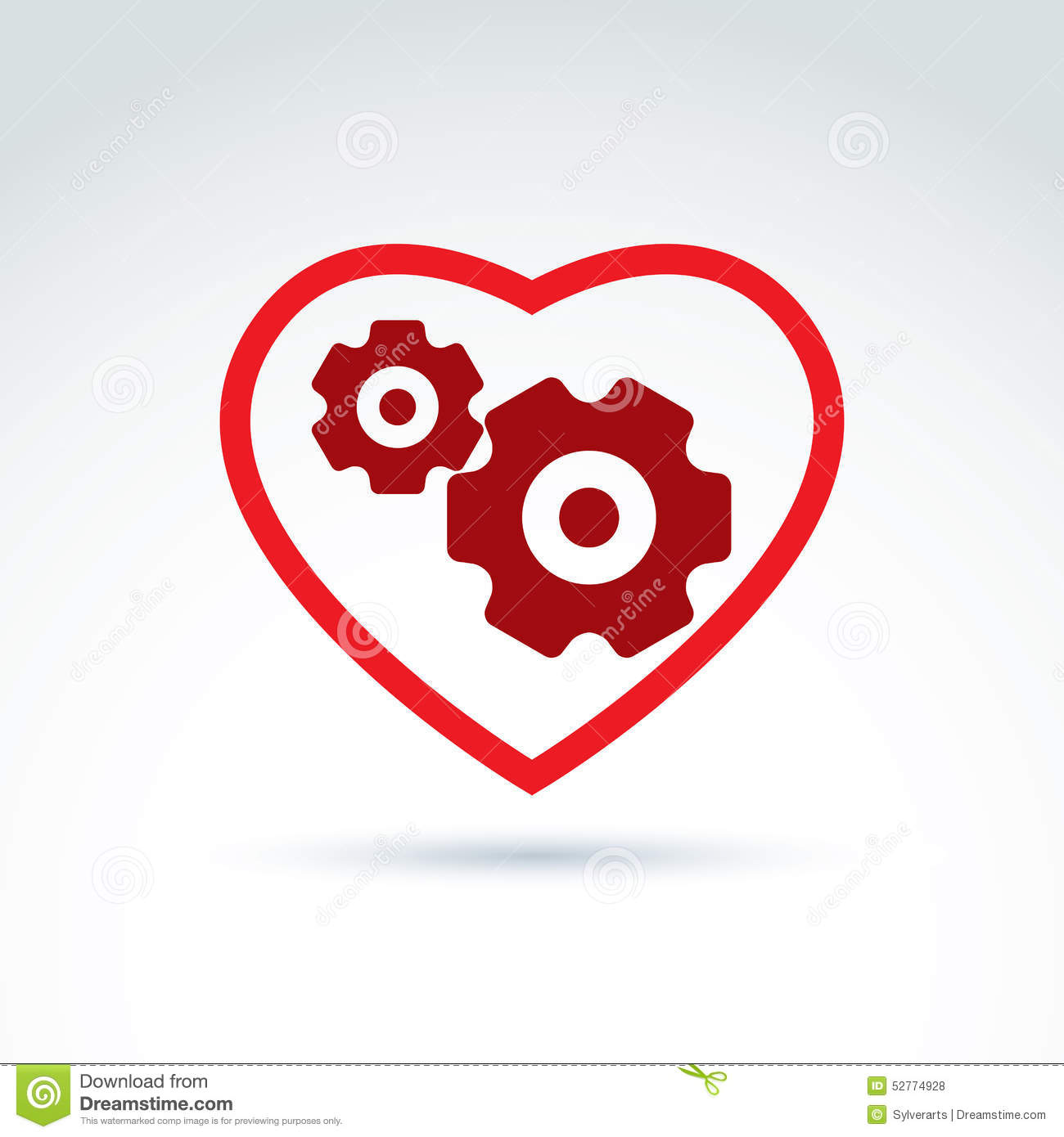 Gears And Cogs In A Shape Of Heart System Theme Icon Heart Of M