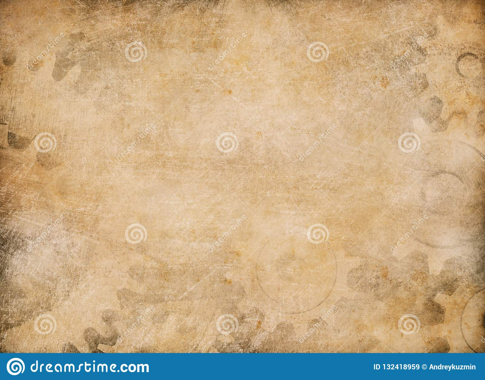 Gears and cogs vintage paper background