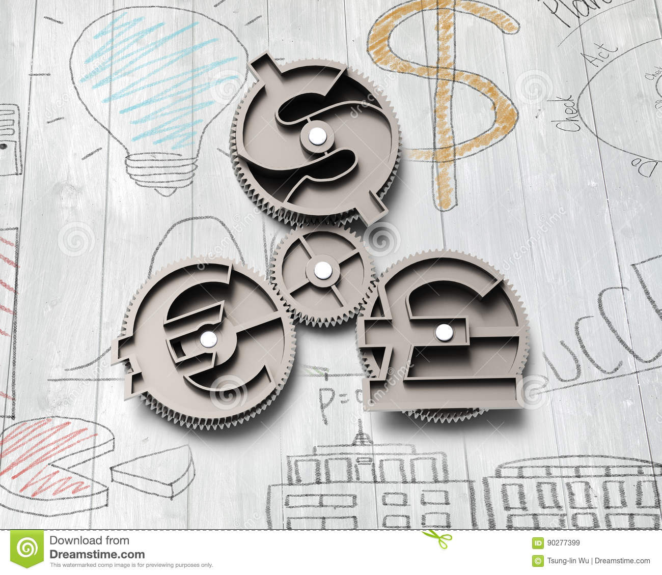 Gears With Dollar Sign Pound And Euro Symbol Stock Illustration