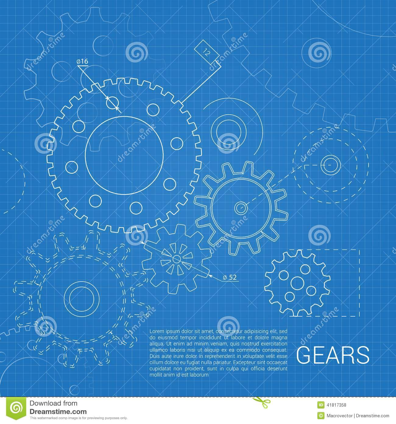 Gears drawing background