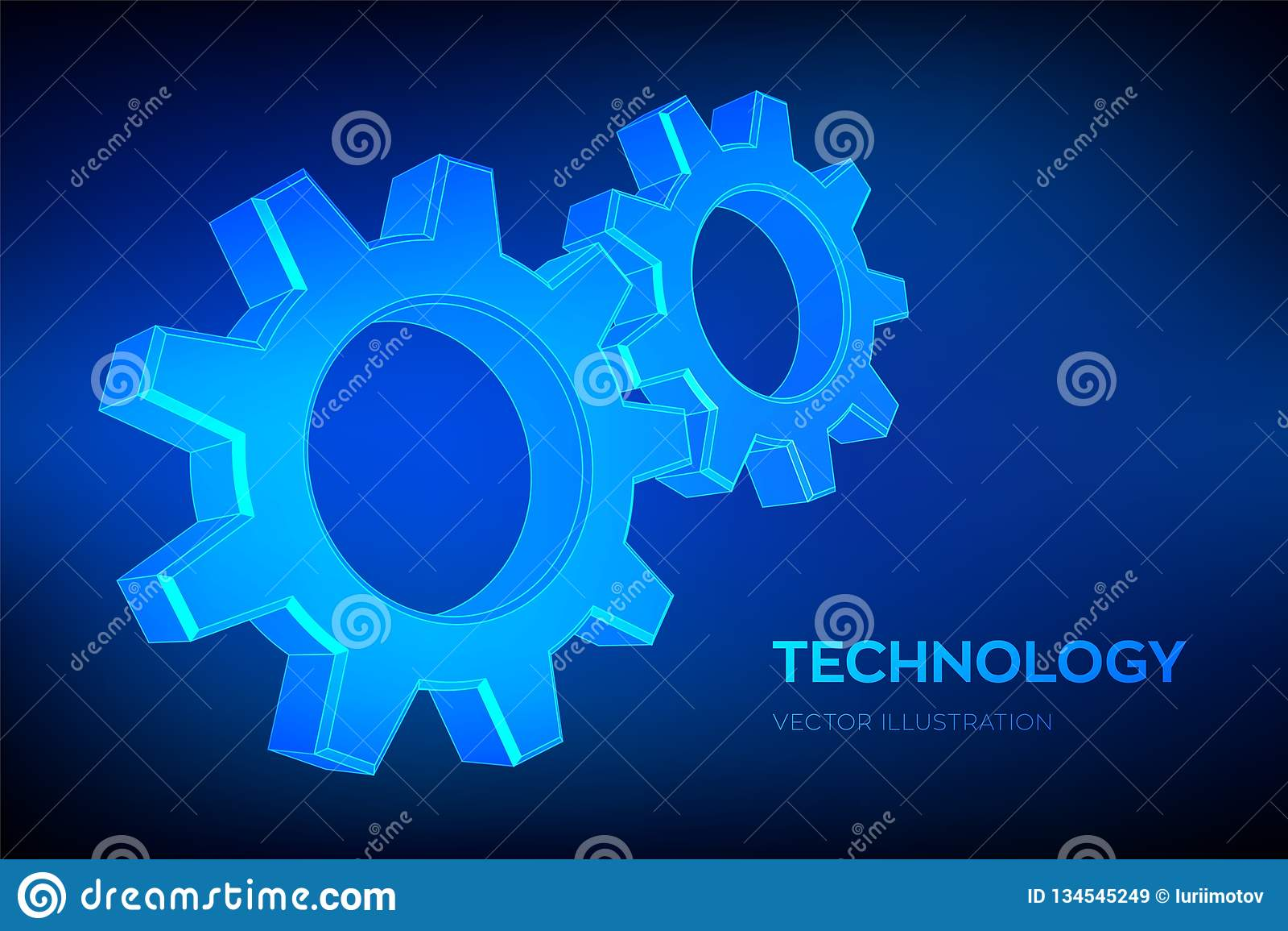 Gears. Engineering Gear wheels. 3D wireframe mesh Gear. Mechanical technology machine engineering symbol. Industry