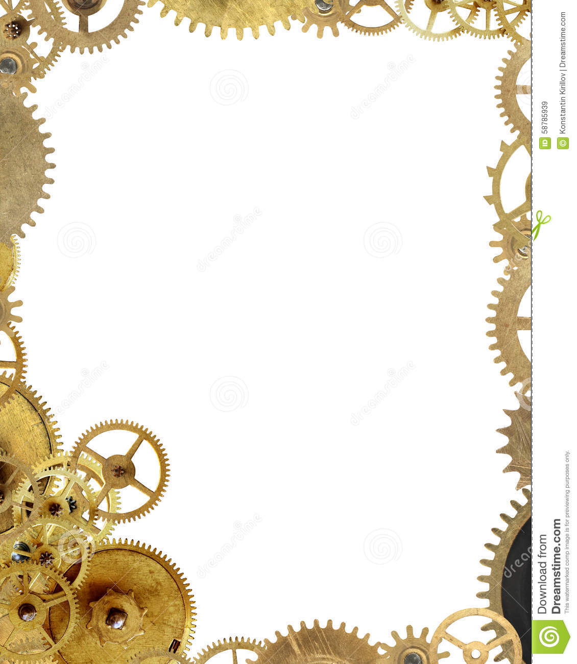 Machinery concept. Picture frame made from lot of various gears