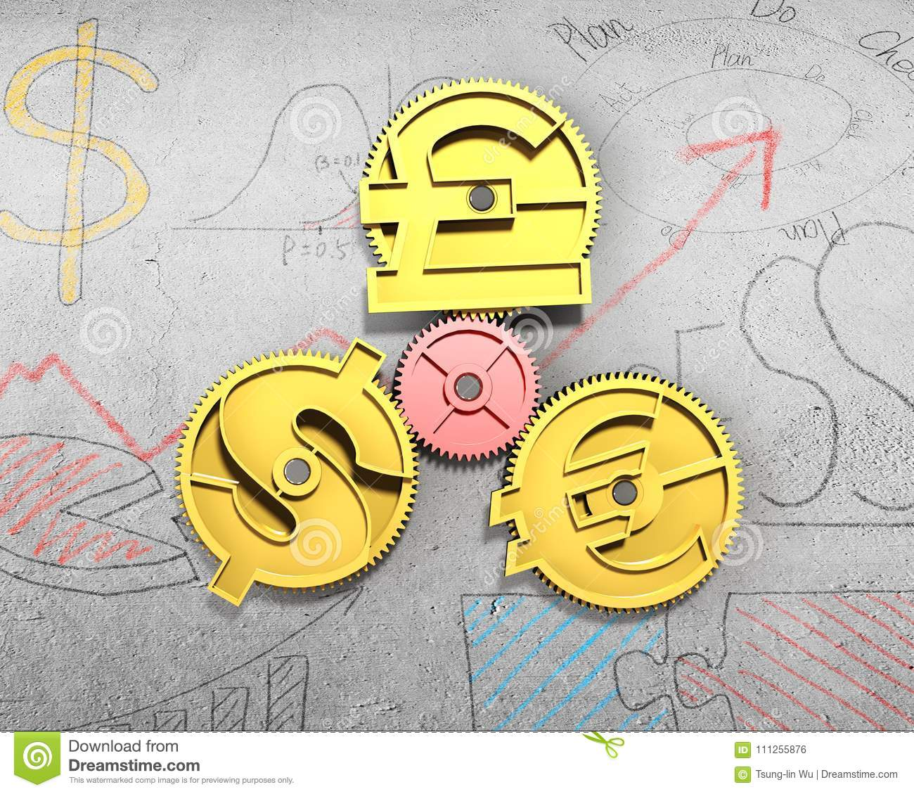 Gears With Golden Dollar Sign Pound And Euro Symbol Stock