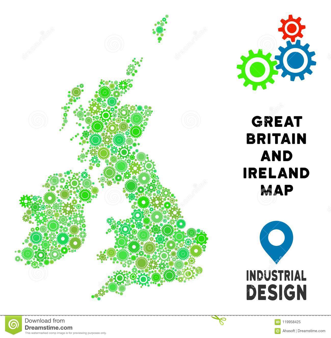 Small Map Of Ireland.Gears Great Britain And Ireland Map Composition Stock Vector