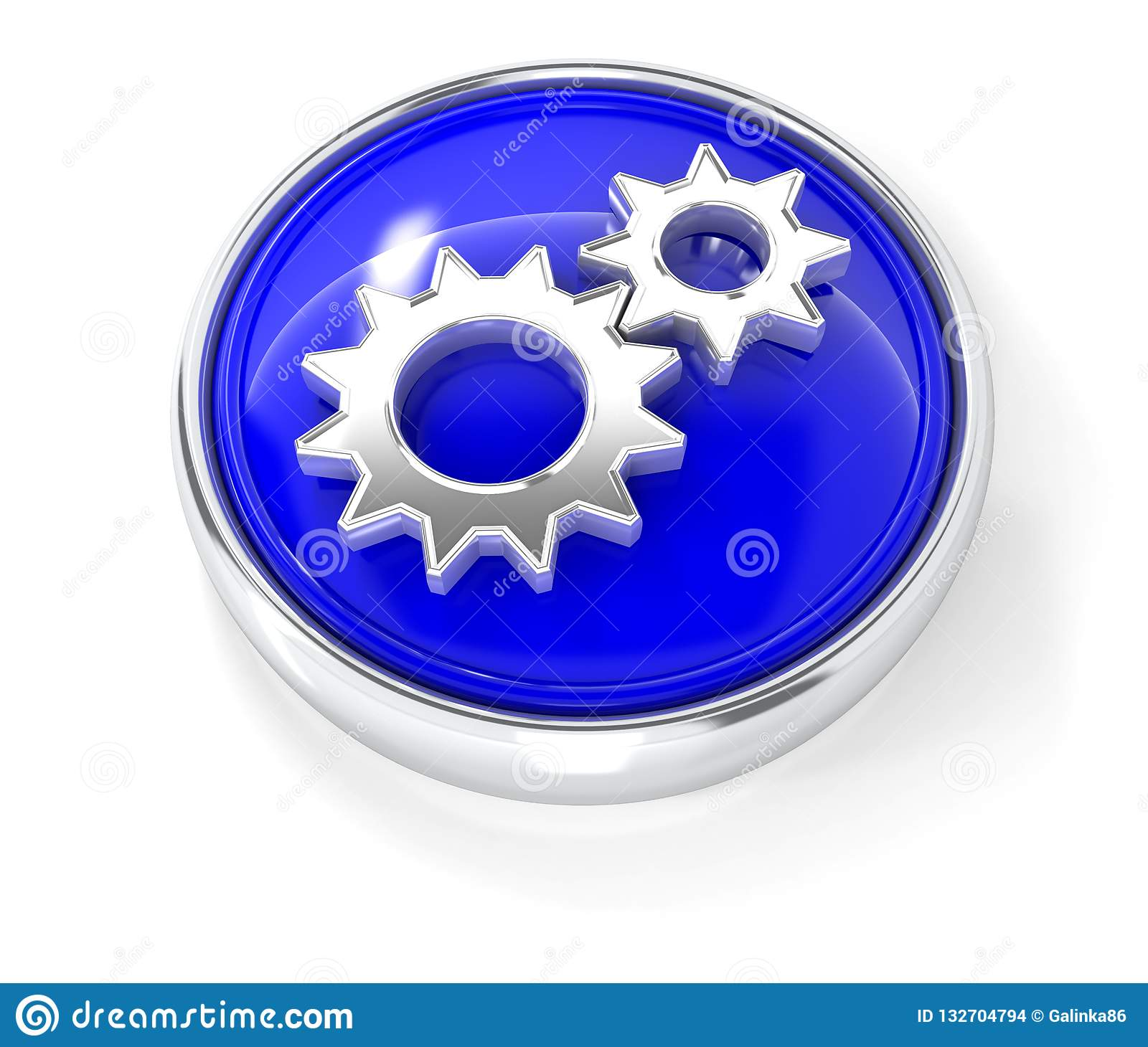 Gears icon on glossy blue round button