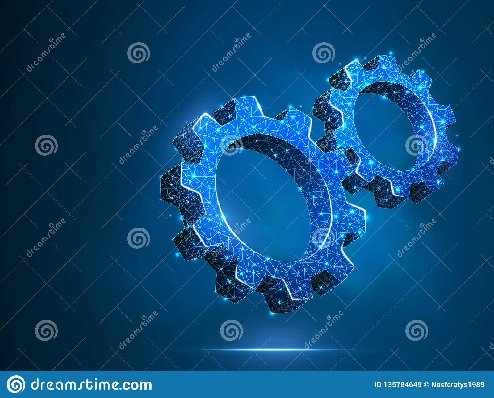 Spinning Gears. Industry, engine work, business solution technology machine engineering symbol Vector low poly polygonal