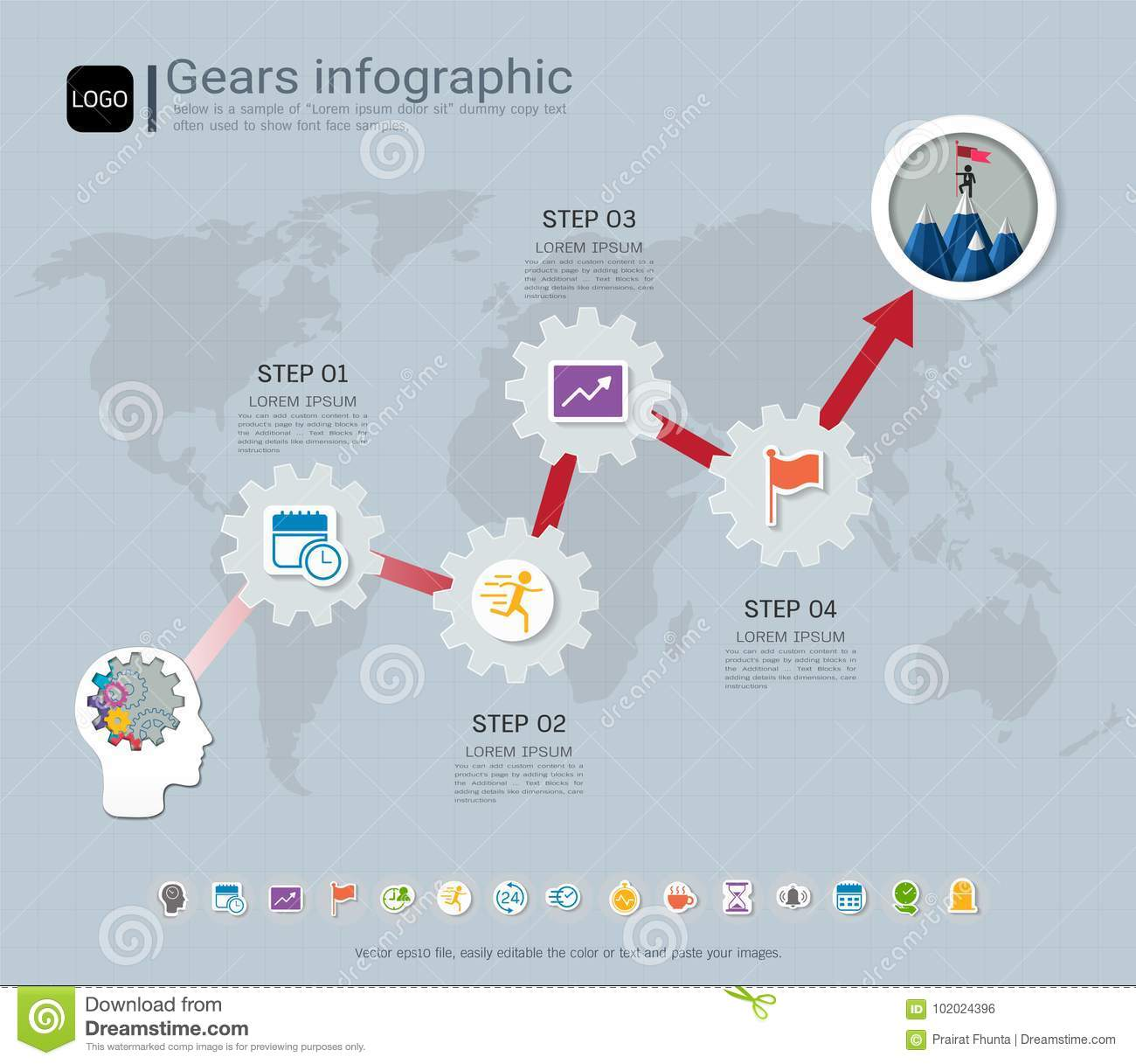 Gears Infographic Template For Business Presentation ...