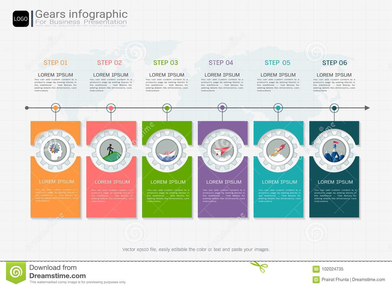 Gears Infographic Template For Business Presentation Strategic Plan To Define Company Values