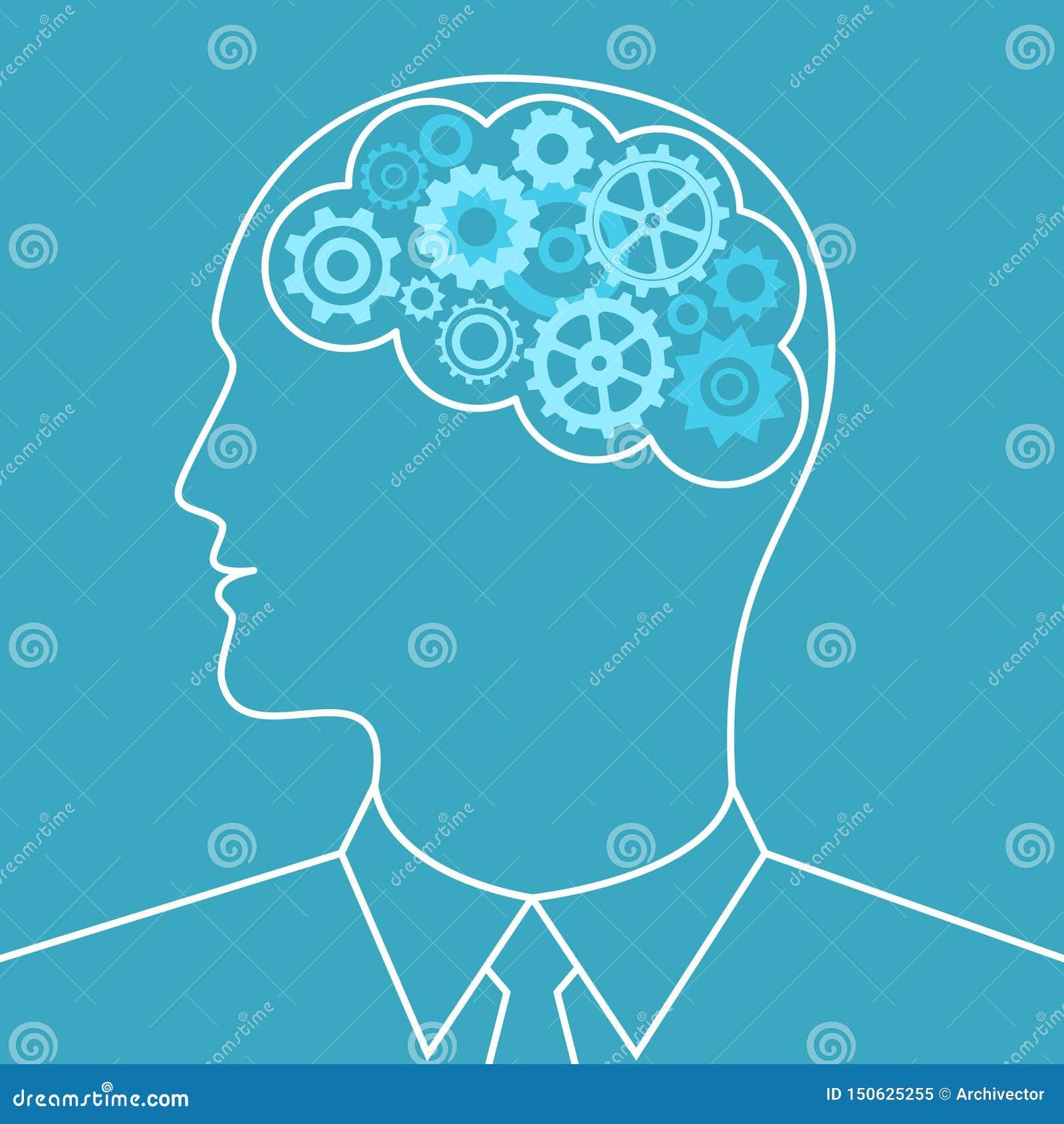 Gears in brain man. Business concept