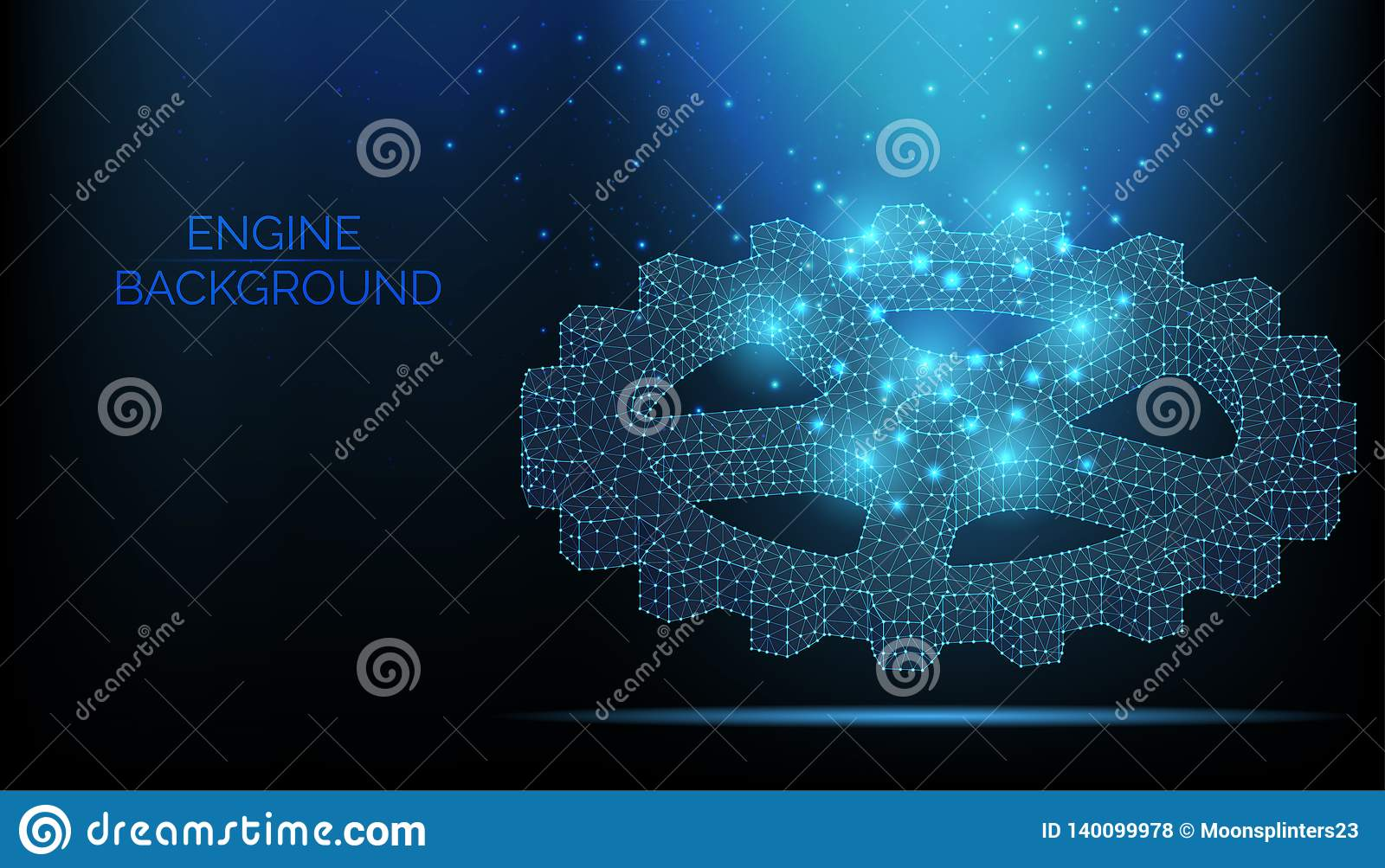 Gear on dark blue background. Teamwork Symbol. Engine work