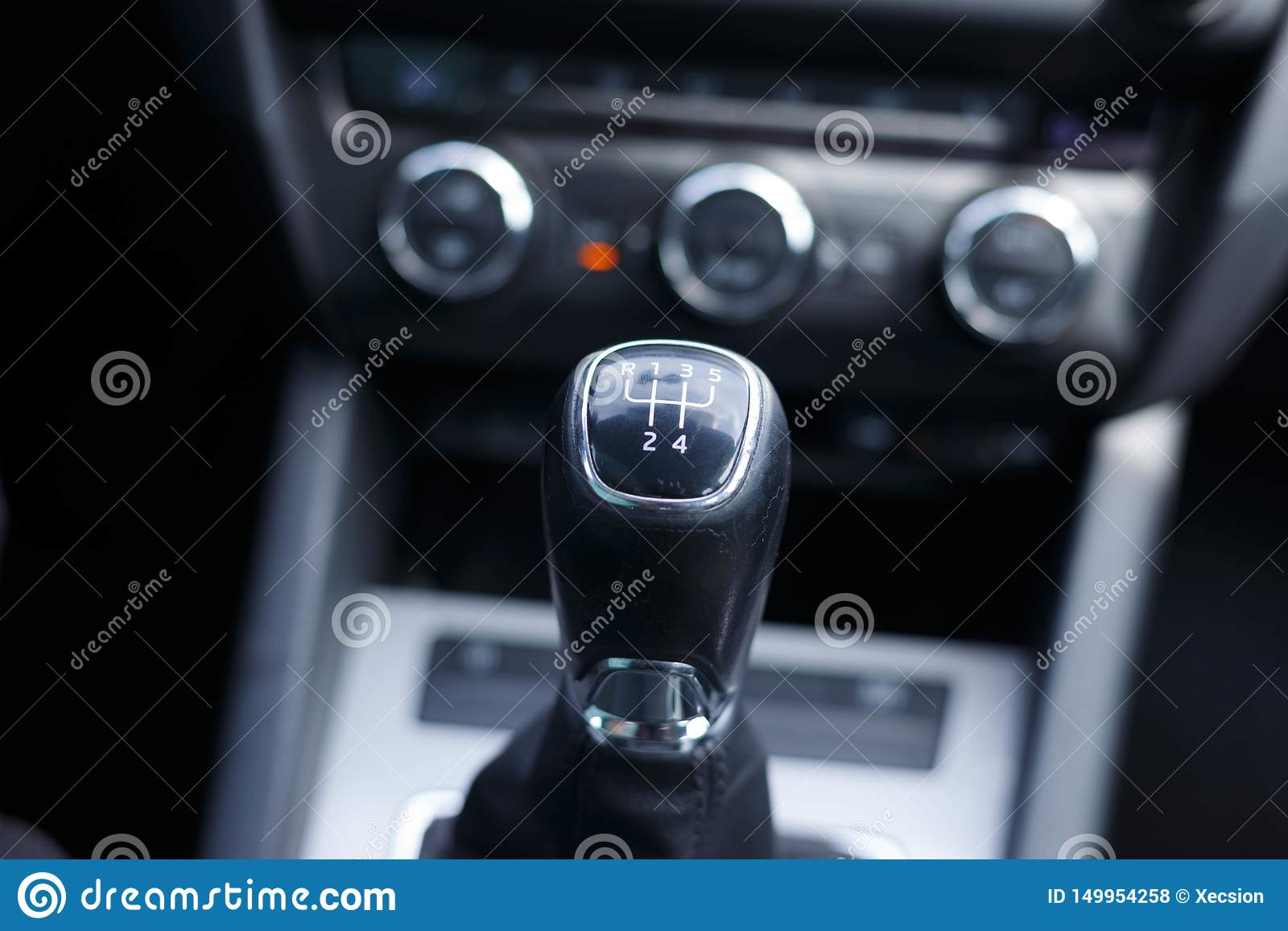 Gearshift lever of a car manual transmission.