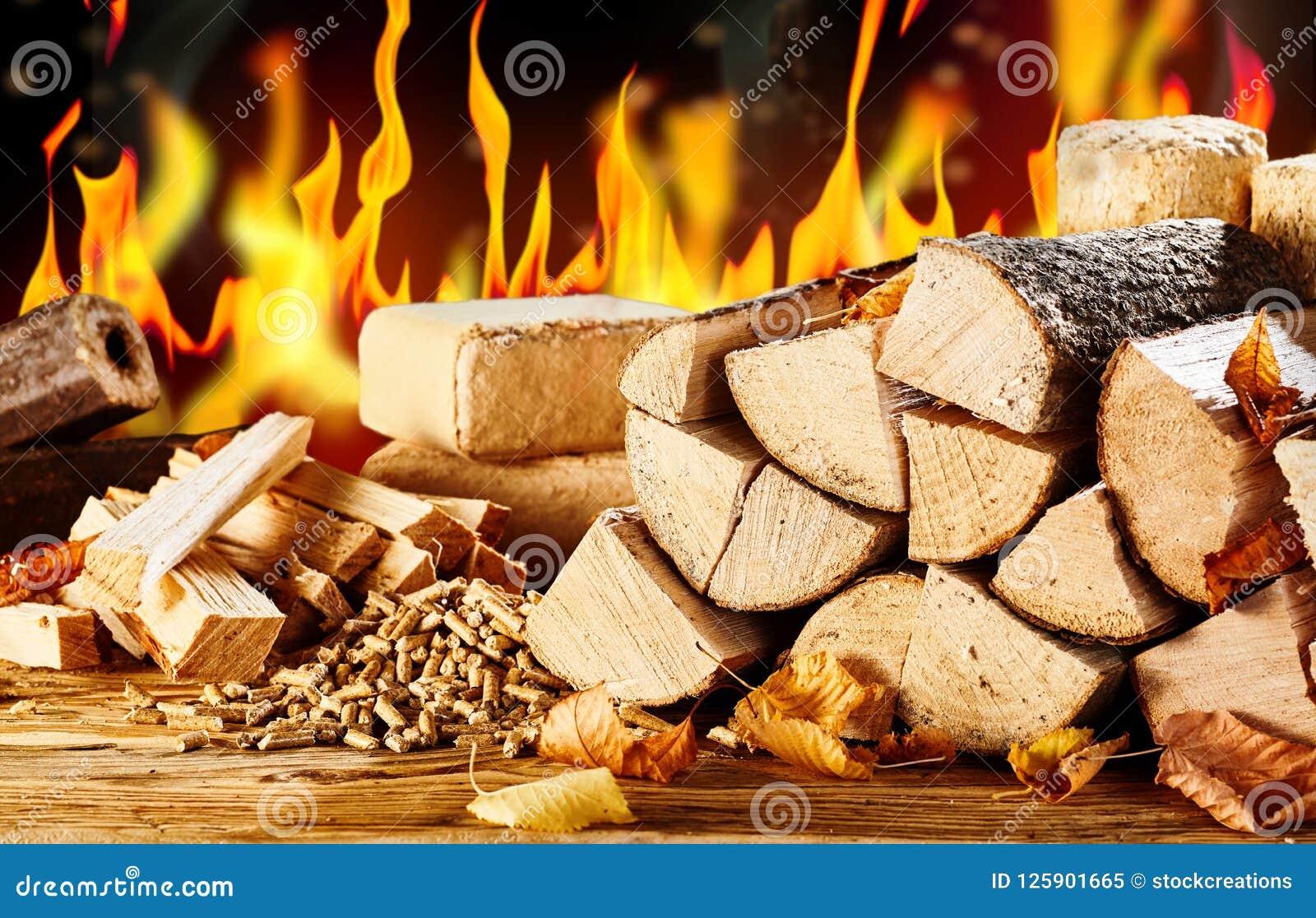 Geassorteerde types van natuurlijke biofuels voor het verwarmen