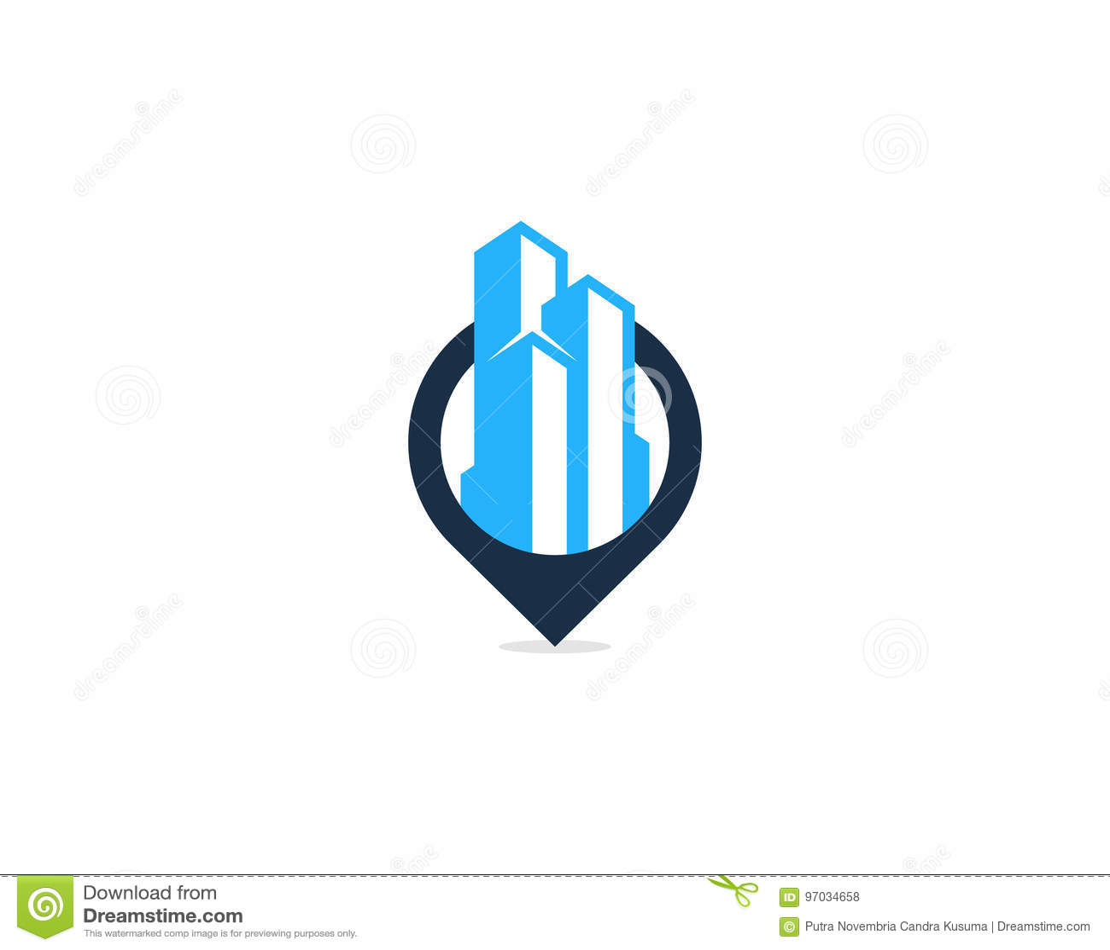 Gebaude Buro Pin Point Icon Logo Design Element Vektor Abbildung