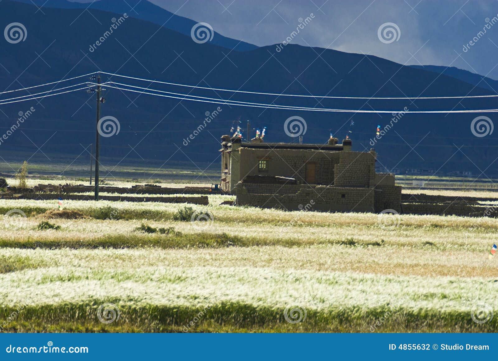 Gebäude in der tibetanischen Landschaft